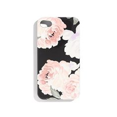 Black iPhone case with flowers