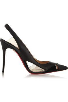 Christian Louboutin|Air Chance 100 leather and suede slingback pumps|NET-A-PORTER.COM