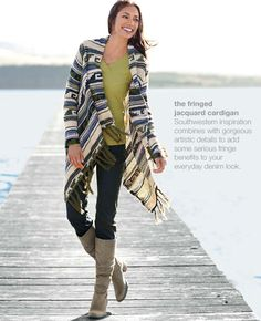 the fringed jacquard cardigan... Love this cardigan for cold evenings