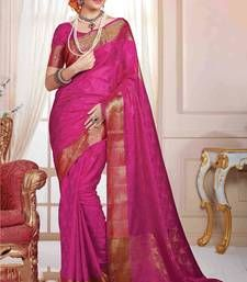 Buy Pink plain art silk saree with blouse banarasi-silk-saree online
