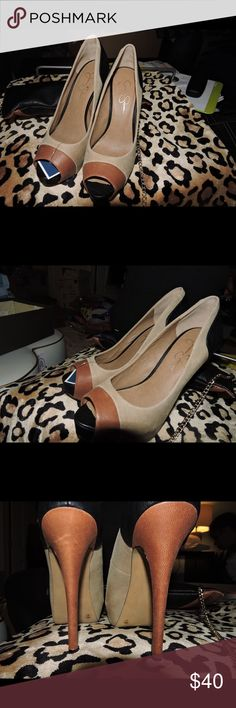 Tri-Color High heel with Platform - Brand new Jessica Simpson high heel peep toe with platform. Colors are cream, warm brown and black - all leather. Never been worn. Also see listing for matching bag! I'll sell both for $70 Jessica Simpson Shoes Heels
