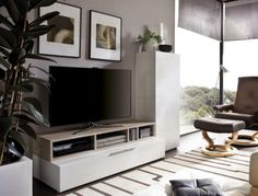 Rimobel Modern TV Unit and Tall Cabinet in 7 Colour Choices