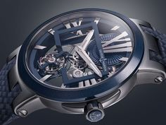 Explore the new Ulysse Nardin Executive Skeleton Tourbillon Blue. Sporting an in-house flying tourbillon movement, extremely minimalist skeletonization and an ultra modern look. All that for €38,000.-