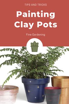 Put your personal touch on your container display. Learn how to paint your own clay pots in this tutorial from Fine Gardening. Diy Garden Projects, Diy Craft Projects, Garden Ideas, Craft Ideas, Fine Gardening, Container Gardening, Painted Clay Pots, Terracotta Pots, Garden Art