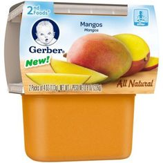 Gerber 2nd Foods Mangos Baby Food, 4 oz Tubs, 2 count
