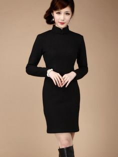 Wool Long Sleeve Qipao / Cheongsam / Chinese Dress