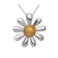 Silver Daisy Necklace in 925 Silver with 18ct Gold Plated