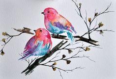 Aquarelle originale peinture des oiseaux colorés par ArtCornerShop