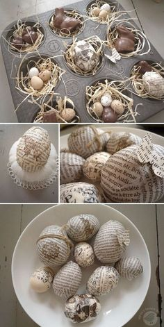some eggs with newsprint and tissue tape to create a little Easter nest in an old English muffins mold with some paper grass, chocolate bunnies and eggs. - http://www.beautifuldiy.net/some-eggs-with-newsprint-and-tissue-tape-to-create-a-little-easter-nest-in-an-old-english-muffins-mold-with-some-paper-grass-chocolate-bunnies-and-eggs