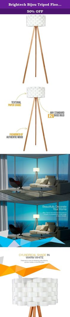 """Brightech Bijou Tripod Floor Lamp Contemporary Design for Modern Living Rooms Soft Ambient Lighting Made with Natural Wood - Natural Color Wood. Praised for its """"retro design at a budget price,"""" Brightech's Bijou Tripod Floor Lamp brings maximum style to contemporary living rooms at a fraction of what designer lamps usually cost. Our lamp combines a neutral base of birch-toned authentic wood (legs feel smooth to the touch) with a sculpted white shade fashioned from 75 interlocking loops...."""