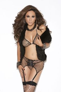 Elegant Moments Lingerie 8564 Fishnet Lingerie Set Black fishnet sexy lingerie set which includes a triangle top bra with spaghetti straps which tie at the back and around the neck, a matching G-string with thin side straps and a sexy garter belt with http://www.MightGet.com/january-2017-12/elegant-moments-lingerie-8564-fishnet-lingerie-set.asp