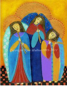 Adoring Angels musical trio musician primitive religious folk art archival giclée print by Pennsylvania folk artist Rose Walton