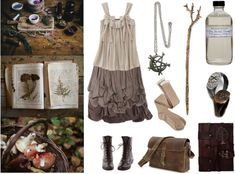 Cottage Witch by maggiehemlock featuring coral hair accessories Brown shirt / Red skirt / Charlotte Russe over-the-knee socks / Lace up boots / Necklace / Initial jewelry / Pluie coral hair accessory / Farmaesthetics face cleanser / Tree Of Life Cast On A Leather Journal Notebook Diary Sketchbook…