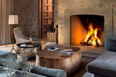 Arijiju Retreat Laikipia Plateau fireplace in living room Interior Exterior, Interior Design, Living Room With Fireplace, Beautiful Interiors, Lodges, Kenya, Home Remodeling, Safari, Architecture Design