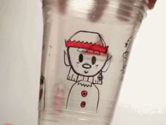 Draw accessories on layered plastic cups with Pilot Super Color Markers and watch your very own Christmas elf come to life!