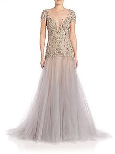 Marchesa Embroidered Illusion A-Line Gown - Lilac Grey