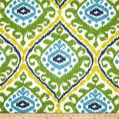 Richloom Hayley Emerald from @fabricdotcom  Screen printed on (approx. 6.5 ounce) cotton duck, this versatile, medium weight fabric is perfect for window accents (draperies, valances, curtains and swags), accent pillows, bed skirts, duvet covers, slipcovers, upholstery and other home decor accents. Create handbags, tote bags, aprons and more. Colors include emerald green, yellow, navy, capri blue and tan.