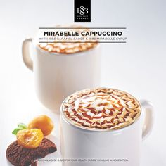 Mirabelle Cappuccino with 1883 Caramel sauce and 1883 Mirabelle syrup #CherryPlum #Cappuccino #mirabelle #fruit #latte #fruity #barista