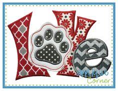 Love Quirky Paw Print Applique Design