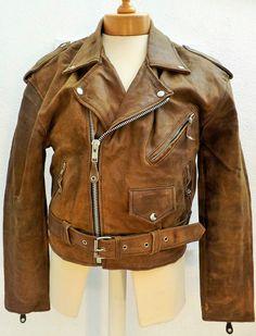 """Vintage Brown D pocket Brushed Leather Motorbike Jacket 40/42"""" 102/107cm"""