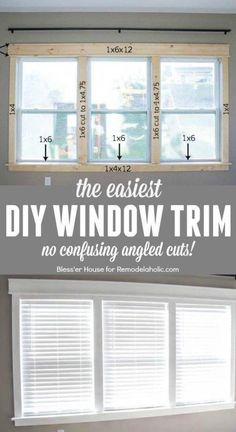 DIY Easy Craftsman Window Trim DIY tutorial for installing the easiest DIY window trim. This craftsman style trim requires NO confusing angled cuts, so it's easy for anyone to do, even a beginner Estilo Craftsman, Craftsman Style, Craftsman Houses, Easy Home Decor, Cheap Home Decor, Home Improvement Projects, Home Projects, Home Improvements, Mobile Home Renovations