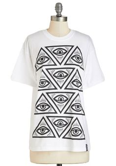 Look Your Way Tee - Mid-length, Cotton, Knit, White, Black, Novelty Print, Casual, Quirky, Short Sleeves, Crew, White, Short Sleeve