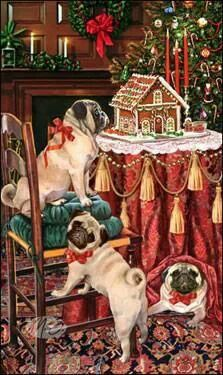 Pug Christmas Holiday Cards are 8 x 5 Pug Christmas, Christmas Scenes, Illustration Noel, Christmas Illustration, Animals And Pets, Cute Animals, Pugs And Kisses, Cute Pugs, Funny Pugs