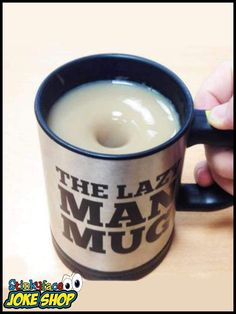 Self Stirring Lazy Man Mug - Perfect solution for the man who wants a cuppa but can't be bothered to stir? Funny Gifts For Him, Joke Gifts, Mugs For Men, Novelty Gifts, Lazy, Self, Tableware, Dinnerware, Fun Gifts