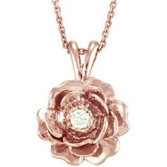 "Antwerp's 14k Gold ""Keepsake Rose"" .05ct Diamond Necklace"