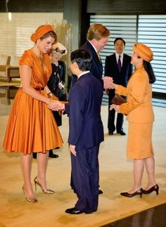 King Willem-Alexander and Queen Maxima of The Netherlands are welcomed by Crown Prince Naruhito and his wife Crown Princess Masako of Japan at the Imperial Palace in Tokyo, Japan, 29.10.2014.