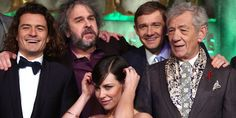 Orlando Bloom, Peter Jackson, Evangeline Lilly, Martin Freeman and Sir Ian McKellen. Photo / AP