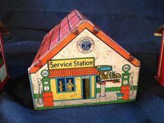 ★ Wyandotte Toys Tin Service Station ★ 2 Car Garage Two Erector Set Tin Houses | eBay