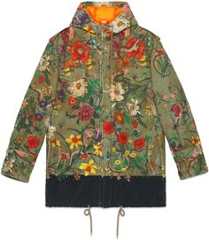 0229c80f0b5e Gucci New Flora Snake Print Quilted Parka - Farfetch