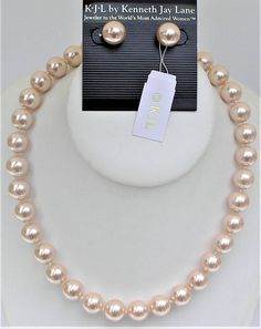 Vintage KJL Kenneth Jay Lane Signed Hand Tied Pink Pearl Single Strand Necklace and Matching Pierced Earrings Set Box Pouch Women's Jewelry
