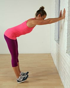 Calf and Shoulder Stretch at the Wall: This stretch is a great multitasking stretch that opens the shoulders as well as the calves.Stand in front of a wall with your feet together. Place your hands on the wall shoulder-width apart.Rock your weight back on your heels without locking your knees, so your toes get pulled off the ground. Reach your bum out as far as you can by lengthening through your spine. Tuck your chin to feel a deep stretch in the back of your neck.Stay here for thirty second...