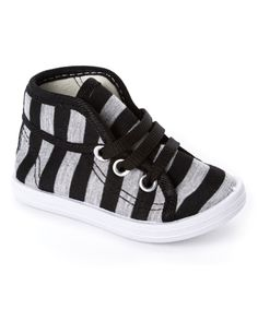 Love this Milly & Max Black & Gray Stripe Sneaker by Milly & Max on #zulily! #zulilyfinds