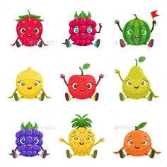 Fruit And Berries Cute Girly Characters Sitting And Waving. Cartoon Humanized Characters Colorful Vector Icons Set.