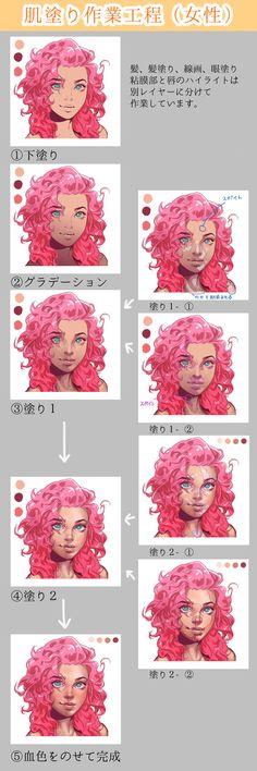 【厚塗り】女の子の肌塗り作業工程 [1]
