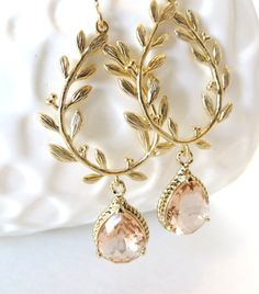Peach Bridesmaid Earrings Gold Bridesmaid by LoveShineBridal