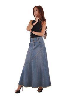 Style J Fantastic Flared Long Jean Skirt-Blue-38(18)