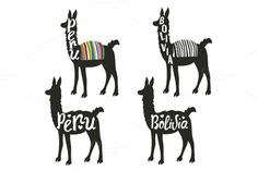 Llama animal set Peru and Bolivia by julymilks on @creativemarket