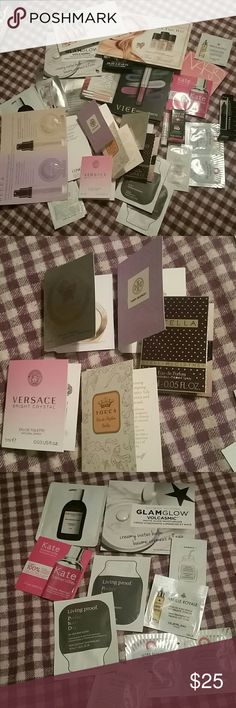 💋Makeup pouch FULL of samples!!💋 A cute Sephora pouch full of BRAND NEW samples from Urban Decay, Too Faced, MUFE, Clinique, Verasace, Living Proof, and SO many more!! All new, unused, non smoking home. ❌Sorry, no trades❌ Sephora Makeup Eyeliner