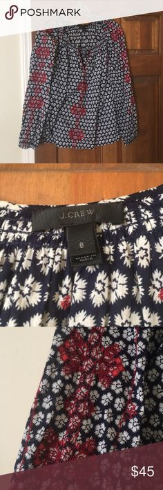 Embroidered peasant blouse J Crew embroidered top. Long sleeves and lightly worn. J. Crew Tops Blouses