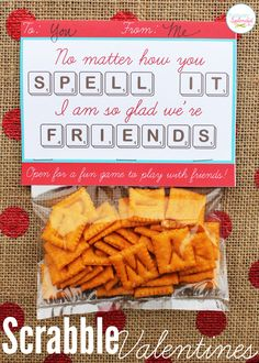 Edible Scrabble valentine idea, including a free printable card with a game board inside. So fun!! cute and no candy!