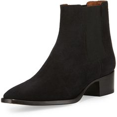 Frye Dara Suede Chelsea Boot ($320) ❤ liked on Polyvore featuring shoes, boots, ankle booties, ankle boots, black, low heel booties, black ankle boots, black booties and frye boots