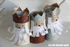 Cómo hacer #Reyes #Magos con #tubos de #cartón paso a paso  #HOWTO #DIY #artesanía #manualidades #reciclaje