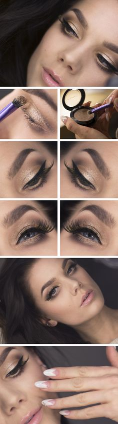 """Today's Look : """"NYARSMAKEUP #1"""" -Linda Hallberg (a gorgeous look featuring nudes and golden shimmer, lashes for miles with flecks of gold... Mac Pressed Pigment in Day Gleam) 12/31/13"""