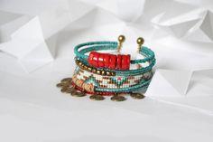 """Bracelet """"Ribambelle"""" turquoise, rouge et bronze"""