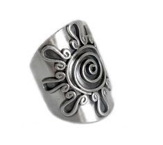 Handmade Sterling Silver Large Statement Ring, Wide band Cuff ring, can be used as can be Thumb Ring, Tribal, Gypsy, Bohemian Style Sun/ Solar Ring, Adjustable, Semi shiny finish, open back side Can be used on every finger including as a Thumb ring Matching cuff bracelet: