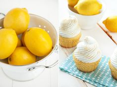Light lemon cupcakes, filled with lemon curd and topped with meringue frosting.